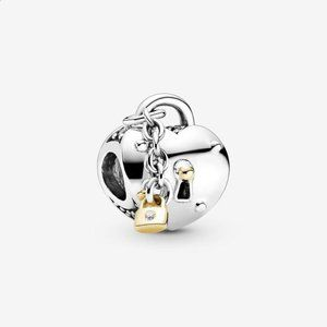 Two-color heart and lock pendant Pandora